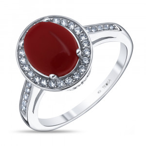925 Sterling Silver women's rings with synthetic coral and cubic zirconia