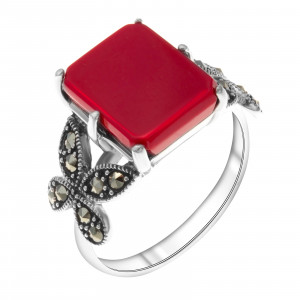 925 Sterling Silver women's rings with imit. coral