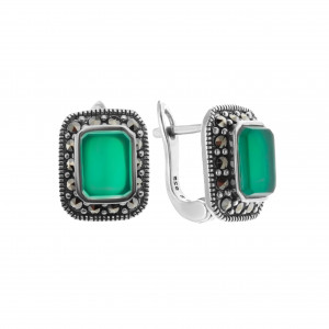 925 Sterling Silver pair earrings with green agate and marcasite