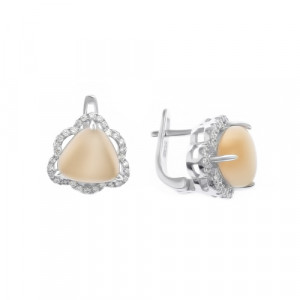 925 Sterling Silver pair earrings with cat's eye and cubic zirconia
