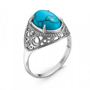 925 Sterling Silver women's rings with turquoise imitation and synthetic turquoise