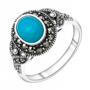 925 Sterling Silver women's rings with turquoise and marcasite