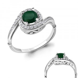 925 Sterling Silver women's rings with green agate