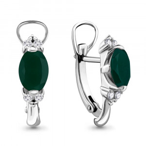 925 Sterling Silver pair earrings with green agate and agate