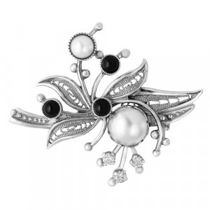 925 Sterling Silver brooches with glass and pearl imit.