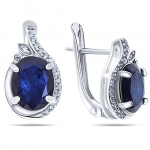 925 Sterling Silver pair earrings with sapphire and