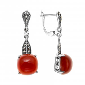 925 Sterling Silver pair earrings with carnelian