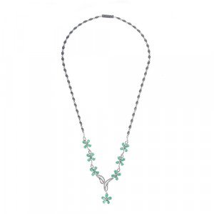 925 Sterling Silver necklaces with emerald and cubic zirconia