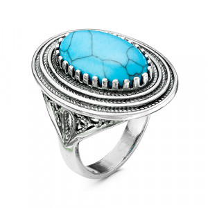 925 Sterling Silver women's rings with synthetic turquoise and turquoise imitation