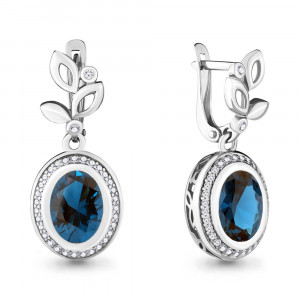 925 Sterling Silver pair earrings with nano london topaz and london topaz