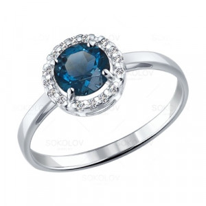 925 Sterling Silver women's rings with london topaz and topaz