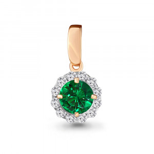 925 Sterling Silver pendants with cubic zirconia and emerald gt