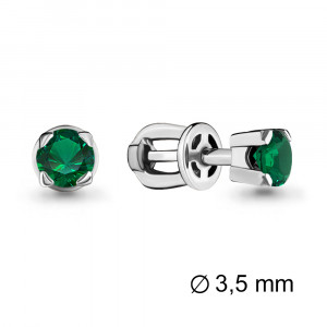 925 Sterling Silver pair earrings with emerald gt