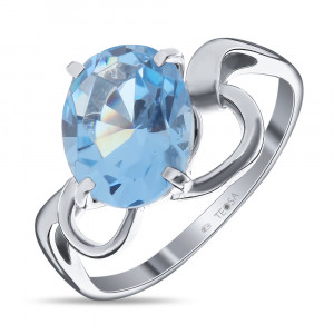 925 Sterling Silver women's ring with topaz