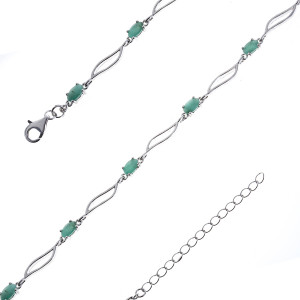 925 Sterling Silver bracelets with emerald and