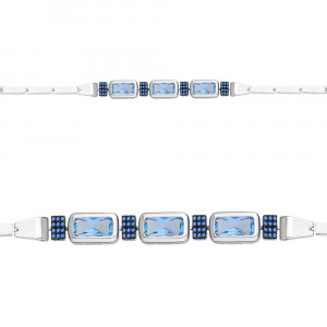 925 Sterling Silver bracelets with nano topaz and nano sapphire