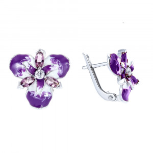 925 Sterling Silver pair earrings with enamel and alpana