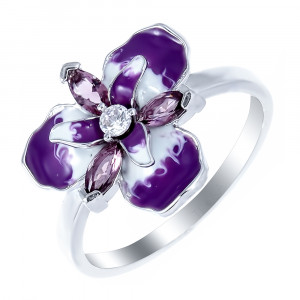 925 Sterling Silver women's rings with alpana and cubic zirconia