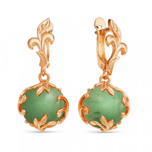 925 Sterling Silver pair earrings with synthetic jade