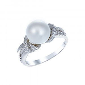 925 Sterling Silver women's ring with pearl