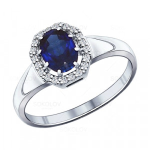 925 Sterling Silver women's rings with synthetic sapphire and cubic zirconia