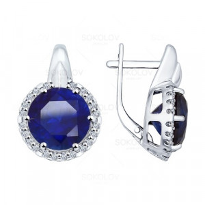925 Sterling Silver pair earrings with sapphire gt and cubic zirconia