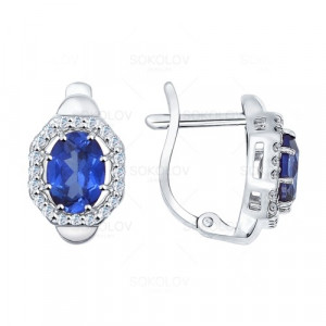 925 Sterling Silver pair earrings with sapphire and synthetic sapphire