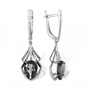 925 Sterling Silver pair earrings with garnet and topaz