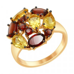 925 Sterling Silver women's rings with citrine and garnet