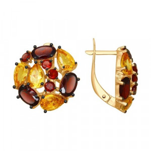 925 Sterling Silver pair earrings with citrine and garnet