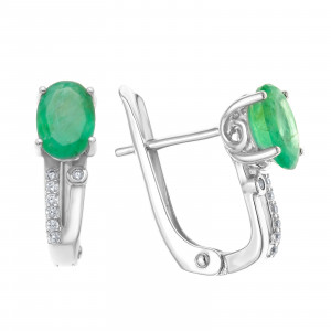 925 Sterling Silver pair earrings with emerald and cubic zirconia