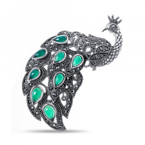 925 Sterling Silver brooches with marcasite and green agate