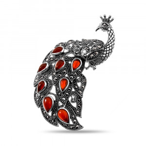 925 Sterling Silver brooches with marcasite and carnelian