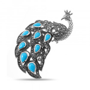 925 Sterling Silver brooches with synthetic turquoise and marcasite
