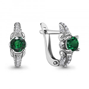 925 Sterling Silver pair earrings with nano emerald and cubic zirconia