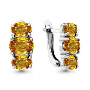 925 Sterling Silver pair earrings with citrine