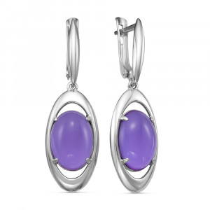 925 Sterling Silver pair earrings with amethyst and synthetic amethyst