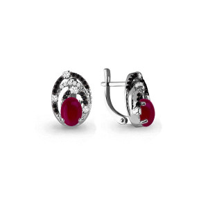 925 Sterling Silver pair earrings with ruby agate and nano crystal