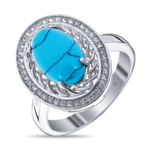 925 Sterling Silver women's ring with synthetic turquoise