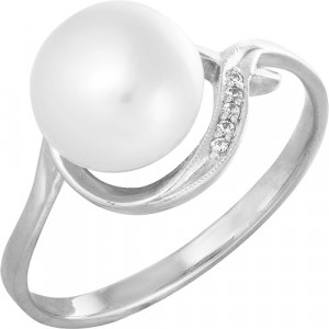 925 Sterling Silver women's ring with cubic zirconia and pearl