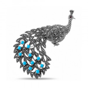 925 Sterling Silver brooches with synthetic turquoise and cubic zirconia