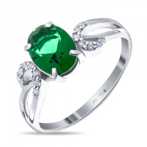 925 Sterling Silver women's ring with quartz pl. emerald