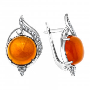 925 Sterling Silver pair earrings with synthetic carnelian and carnelian