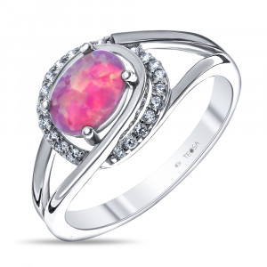 925 Sterling Silver women's rings with pink opal