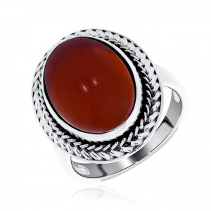 925 Sterling Silver women's rings with red agate