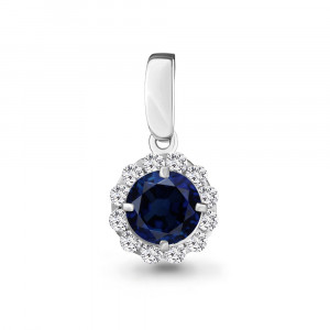 925 Sterling Silver pendants with nano sapphire and cubic zirconia