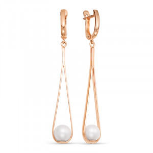 925 Sterling Silver pair earrings with pearl imit.