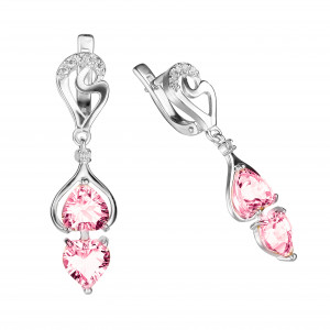 925 Sterling Silver pair earrings with topaz gt and rubin