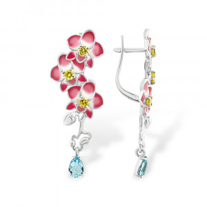 925 Sterling Silver pair earrings with cubic zirconia and spinel