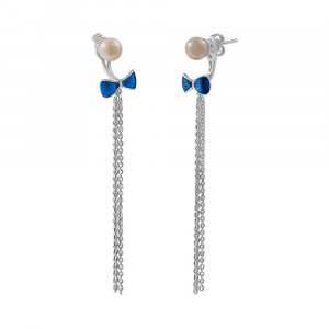 925 Sterling Silver pair earrings with pearl and enamel